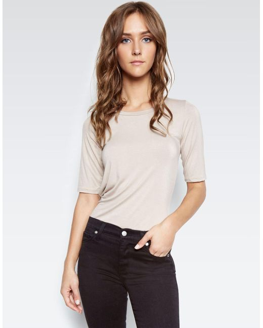 Michael Lauren - Natural Rin Mid Slv Fitted Shaper Tee - Lyst