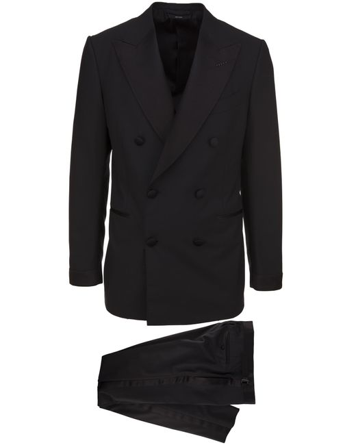 Tom Ford Two-piece Suit In Black Wool With Double-breasted Closure And Pants With Silk Bands for men