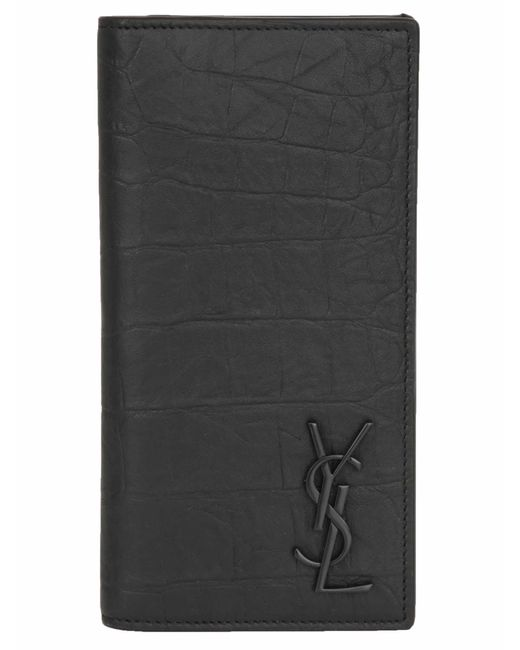 Saint Laurent Black *icon Monogram Wallet In Goatskin With Metallic Logo And Cocco Texture for men