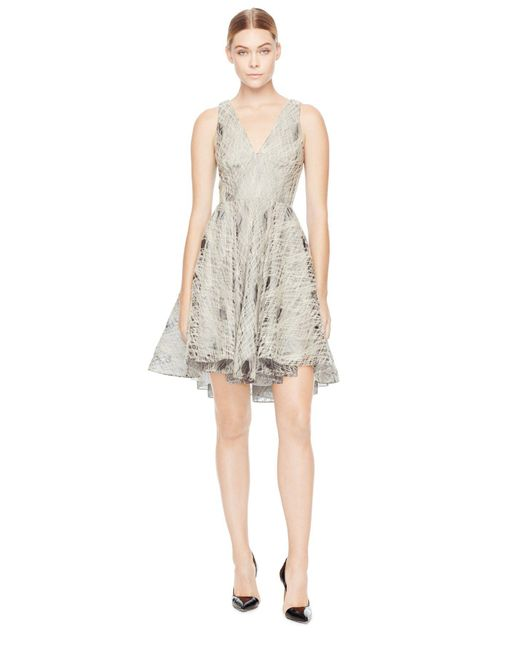 MILLY - Natural Exclusive Embroidered Organza Cynthia Cocktail Dress - Lyst