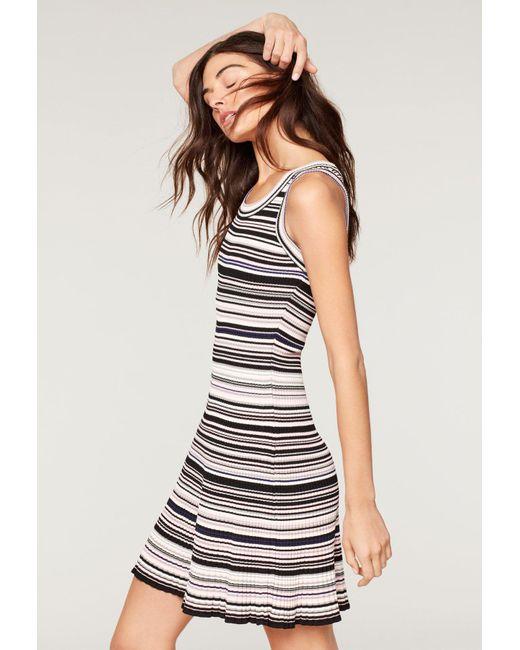 MILLY - Black Micro Stripe Flare Dress - Lyst