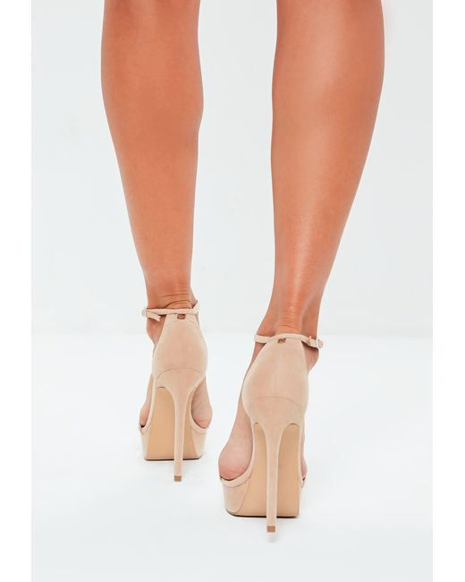 17041f81536e ... Missguided - Natural Nude Faux Suede Simple Strap Platform Heeled  Sandals - Lyst ...