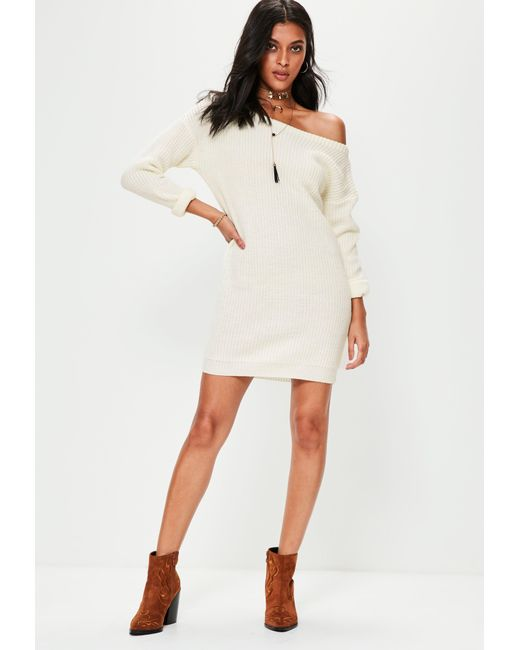 Missguided Cream Off Shoulder Knitted Sweater Dress