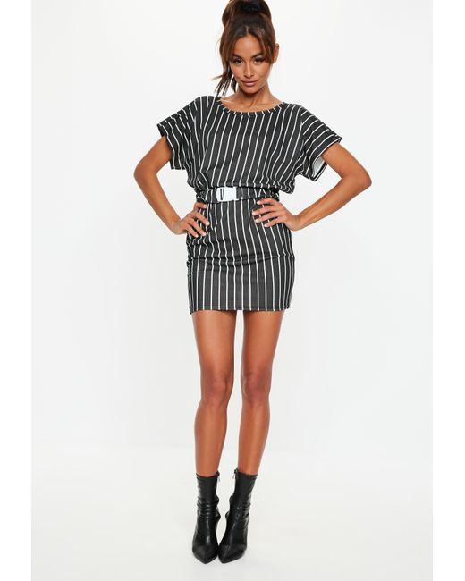 a79e8d03c6 ... Missguided - Black Stripe Buckle Belt T Shirt Dress - Lyst ...