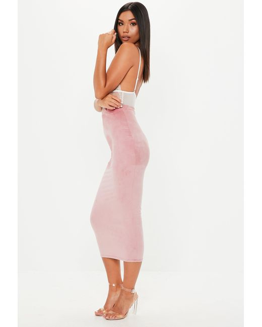 269e9c25b876 ... Missguided - Pink Suede Midi Skirt - Lyst ...