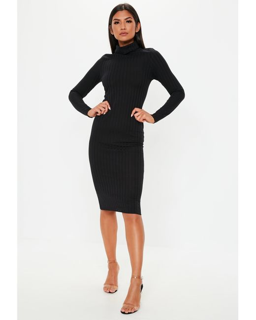 Lyst - Missguided Black Ribbed Roll Neck Lettuce Hem Midi Dress in Black 42e481d9b