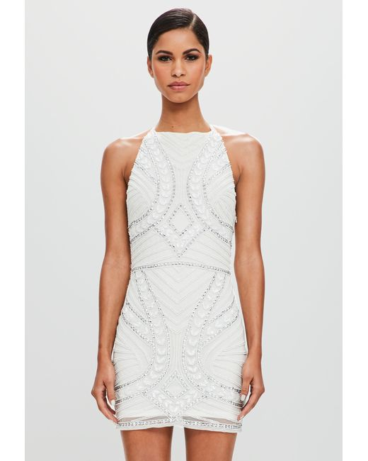 3a0a7cc03364f ... Missguided - Peace + Love White Halterneck Embellished Mini Dress - Lyst  ...