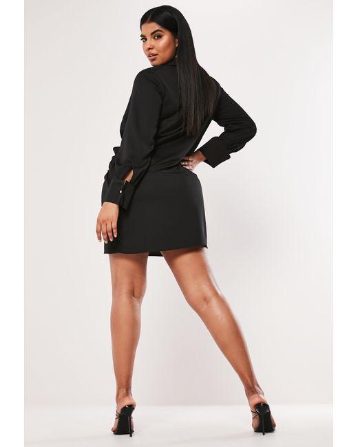 0cd2161713bc ... Missguided - Plus Size Black Satin Thigh Split Mini Dress - Lyst ...