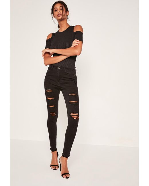 Missguided - Black Sinner High Waisted Extreme Ripped Skinny Jeans - Lyst  ... 3d7402d97a8e