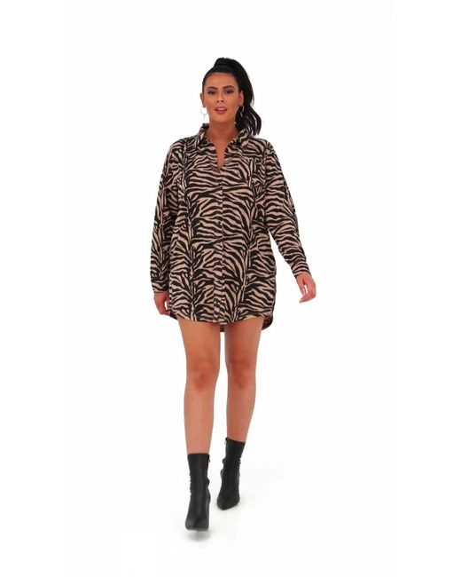 276ded4f30 ... Missguided - Multicolor Plus Size Rust Zebra Print Shirt Dress - Lyst