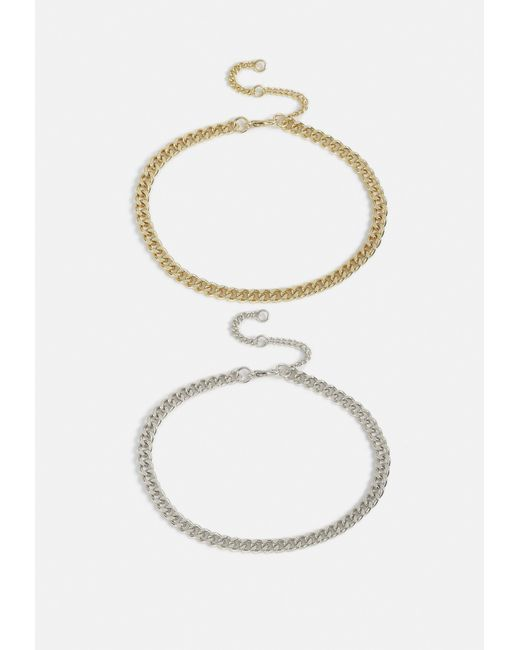 Missguided - Multicolor Mixed 2 Pack Chain Anklets - Lyst