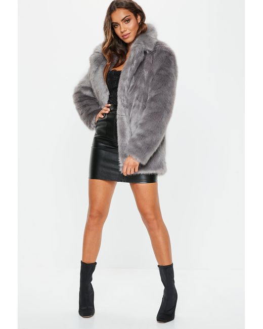33cd102165c9 Lyst - Missguided Grey Faux Fur Coat With Collar in Gray - Save 42%