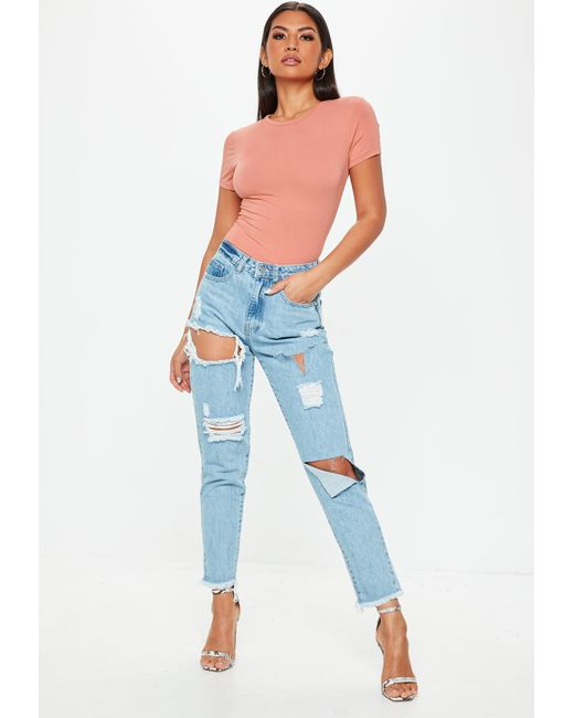 d70d9f7a494a90 ... Missguided - Multicolor Terracotta Crew Neck Fitted T Shirt - Lyst ...