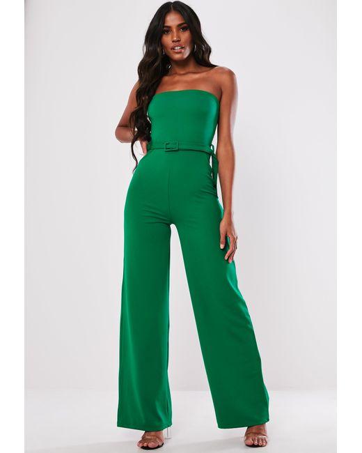 22bf7adea71 Lyst - Missguided Green Self Buckle Wide Leg Jumpsuit in Green