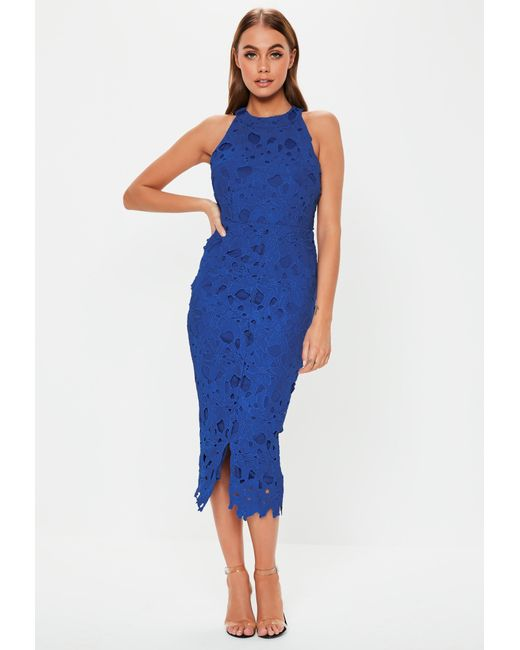 8d5be3882fd6 Lyst - Missguided Cobalt Blue Lace Halterneck Midi Dress in Blue