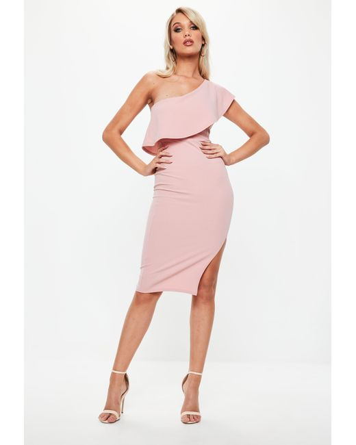 cfcc5a5337 Lyst - Missguided Blush Pink One Shoulder Frill Split Midi Dress in Pink