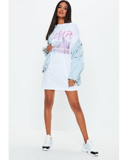 129093a4e03 ... Missguided - White Oversized Graphic T Shirt Dress - Lyst ...