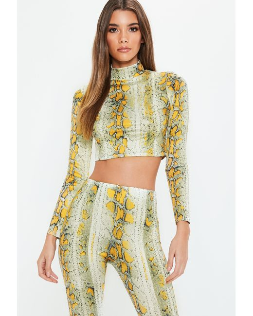 f623db2eec9b0 Missguided - Yellow Cream Snake Printed High Neck Crop Top - Lyst ...