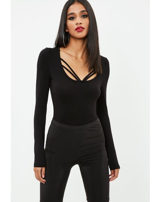 Missguided - Black Jersey Double Strap Bodysuit - Lyst