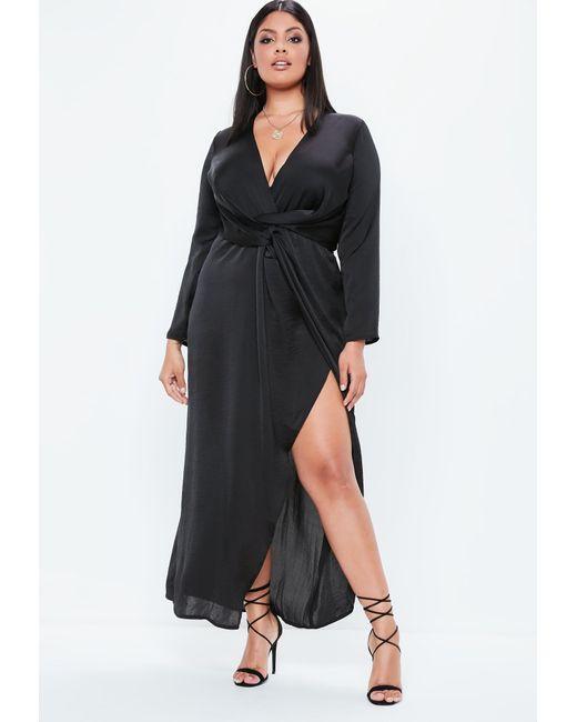 Missguided - Curve Black Satin Thigh Split Wrap Maxi Dress - Lyst