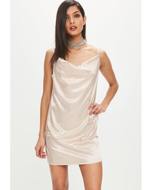 Cowl Neck Satin Wedding Dresses: Missguided Champagne Satin Cowl Neck Dress