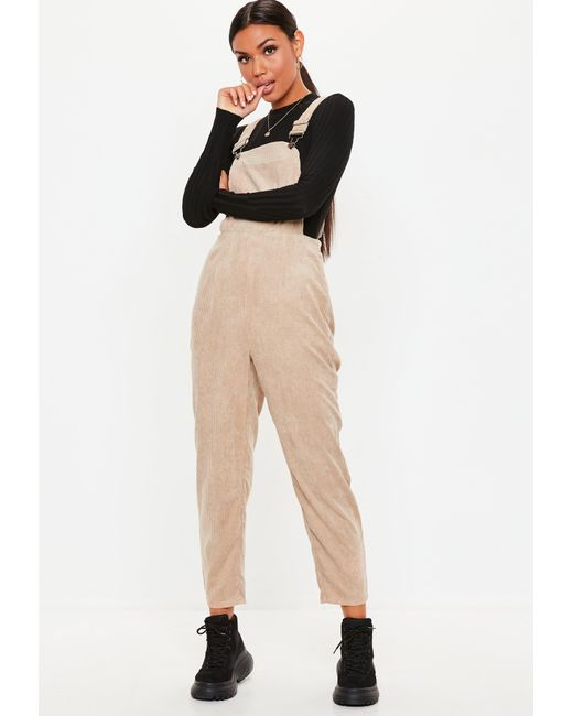 3645f10465 Missguided - Natural Stone Cord Dungaree Jumpsuit - Lyst ...