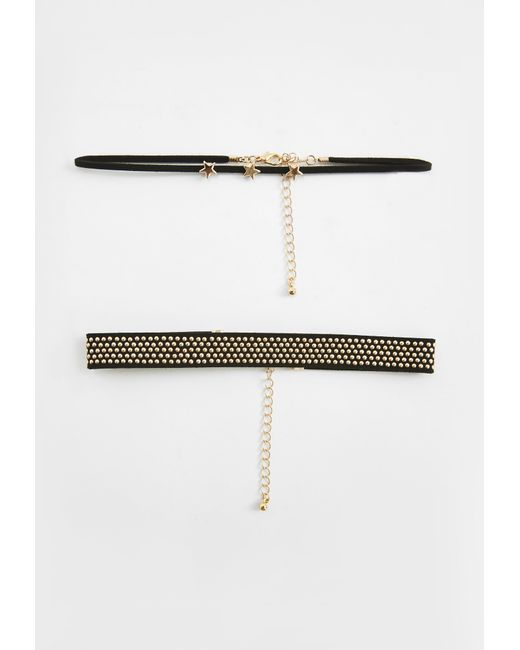 Missguided | Black Star Studded Choker Necklace | Lyst