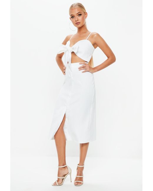 541266beee08 ... Missguided - White Tie Front Button Down Strappy Midi Dress - Lyst ...