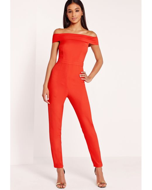missguided crepe bardot jumpsuit red in orange lyst. Black Bedroom Furniture Sets. Home Design Ideas