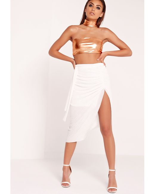 missguided pleated wrap midi skirt white in white lyst