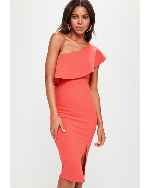 Missguided - Pink Coral One Shoulder Frill Split Midi Dress - Lyst