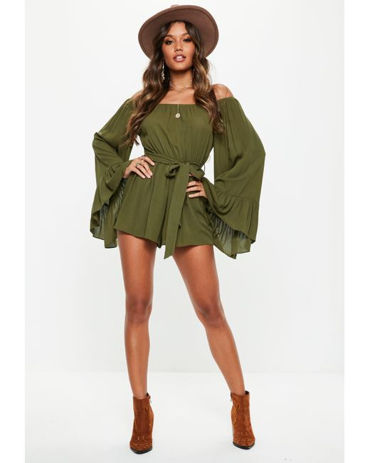 efe3c51679d Missguided - Green Khaki Flare Sleeve Bardot Playsuit - Lyst ...