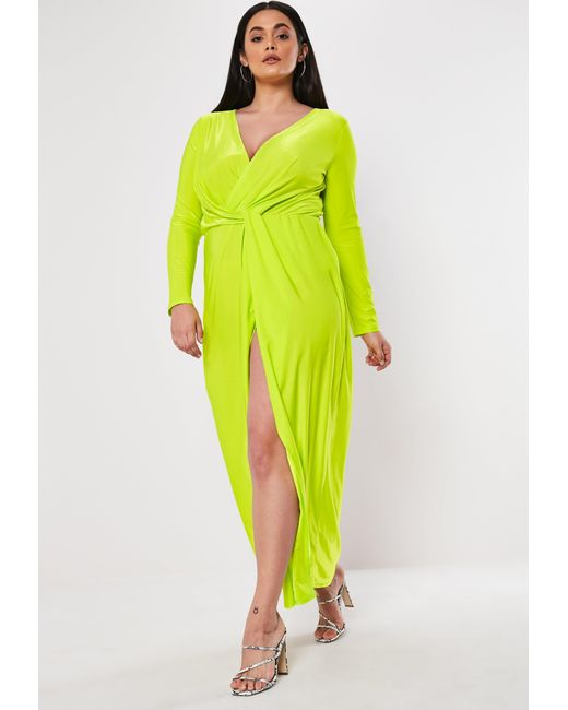 Women\'s Yellow Plus Size Lime Thigh Split Maxi Dress