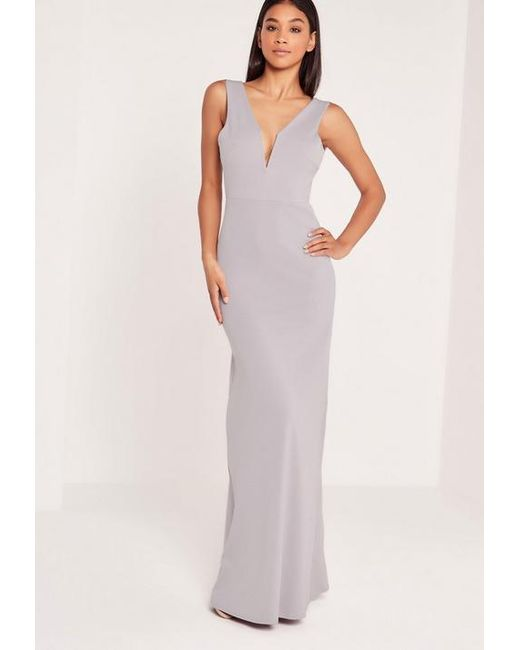 c4bb7af0b9 Missguided Grey Sleeveless V Plunge Maxi Dress in Gray - Save ...
