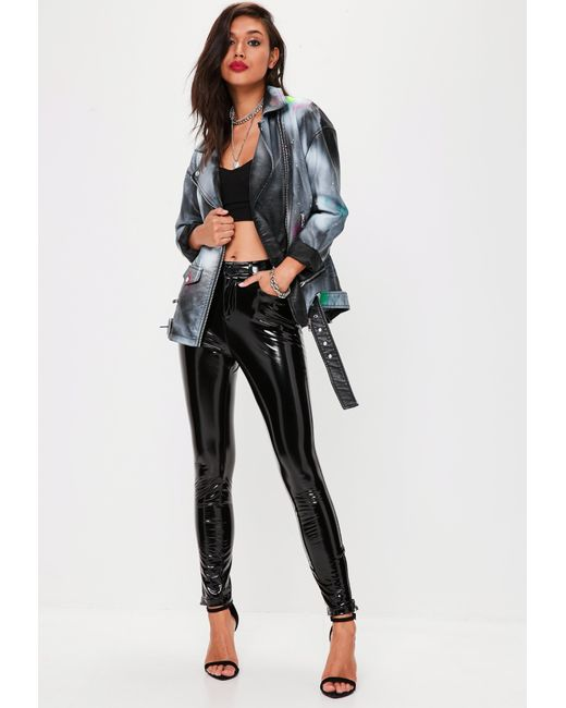 Missguided   Black Faux Leather Spray Paint Jacket   Lyst