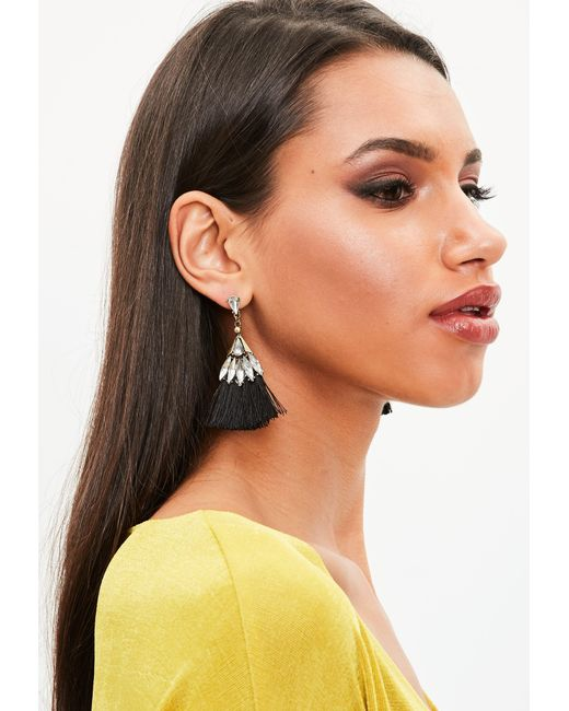 Missguided - Black Crystal Tassel Earrings - Lyst