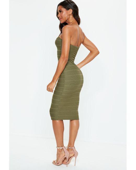 f7071eaa1d ... Missguided - Green Khaki Bandeau Bandage Midi Dress - Lyst ...