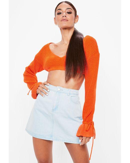 74f5c322ff7 Women's Orange Plunge Flare Sleeve Cropped Jumper