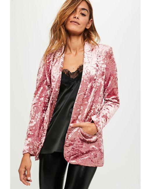 Missguided   Pink Crushed Velvet Blazer   Lyst