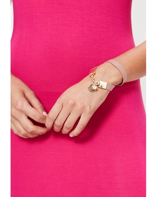 Missguided | Faux Leather Wrap Bracelet Pink | Lyst