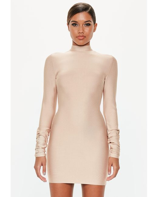 Missguided - Natural Camel Bandage Ruched Sleeve Dress - Lyst