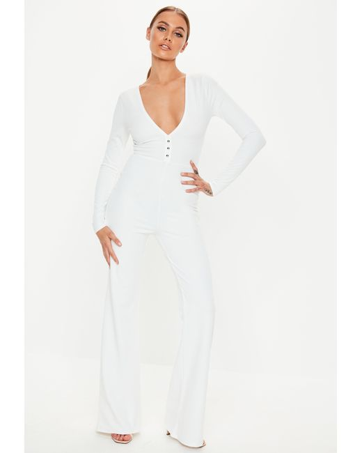 56a851bdea2b Lyst - Missguided White Plunge Button Front Wide Leg Jumpsuit in White