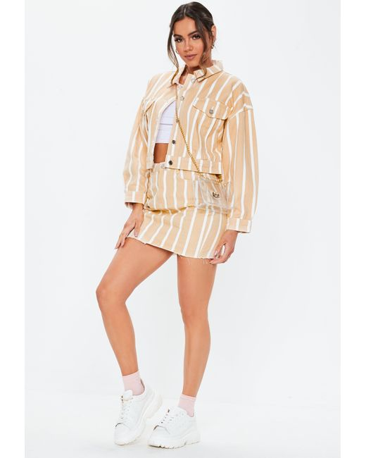 9303751261d79 ... Missguided - Multicolor Blush Stripe Cropped Oversized Co Ord Denim  Jacket - Lyst ...