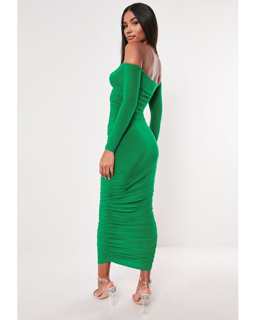 ce1ce954a233 ... Missguided - Green Bardot Slinky Ruched Bodycon Midaxi Dress - Lyst