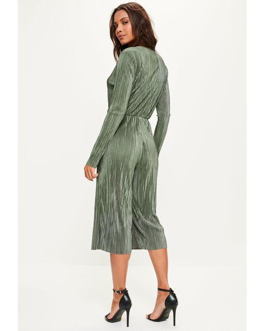 Missguided Khaki Pleated Wrap Long Sleeve Culotte Jumpsuit