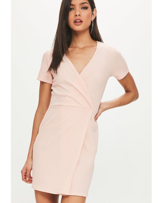Missguided - Natural Nude Short Sleeve Wrap Front Bodycon Dress - Lyst