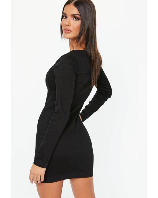 3170a1323e ... Missguided - Black Denim Zip Through Long Sleeve Fitted Mini Dress -  Lyst