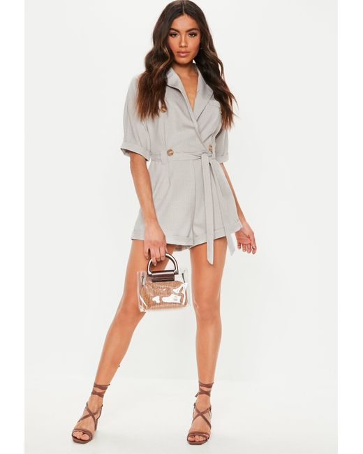 3364bfc35be Lyst - Missguided Gray Horn Button Short Sleeve Romper in Gray