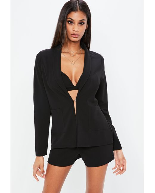 Missguided - Nabilla X Black Stretch Crepe Pocket Blazer - Lyst