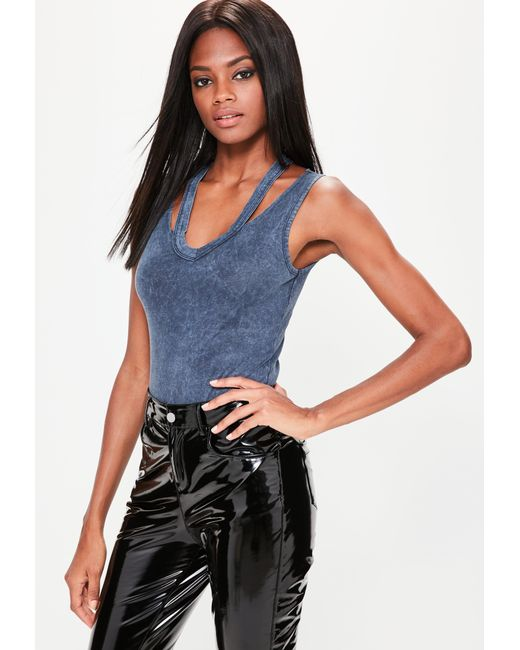 Missguided | Blue Navy Washed Deconstructed Neck Bodysuit | Lyst
